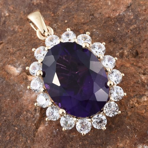 9K Yellow Gold Amethyst (Ovl 8.25 Ct), Natural Cambodian Zircon Floral Pendant 10.750 Ct.