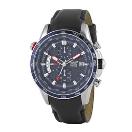 AVIATOR Blue Dial with Calendar and Water Resistant Chronograph Pilot Mens Watch with Genuine Leathe