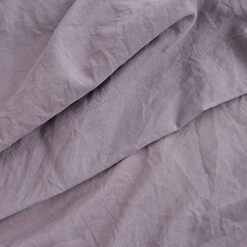 King Size Sheet Set of 4 - Extremely Soft Stone Washed Grey Colour Fitted Sheet (200x150x30 Cm), Flat Sheet (275x255+5 Cm) and 2 Pillow Cases (75x50+5 Cm)