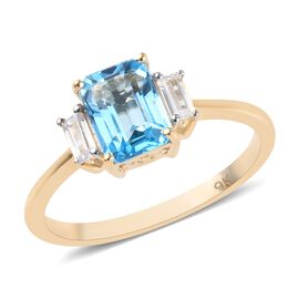 9K Yellow Gold Swiss Blue Topaz (Oct 7x5mm), Natural Cambodian Zircon Ring 1.45 Ct.