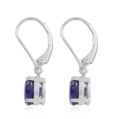 Masoala Sapphire  (Ovl) Lever Back Earrings in Rhodium Plated Sterling Silver 3.500 Ct.