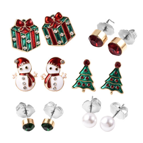 Stocking Filler- Set of 6 - Simulated Pearl, Green, Red and White Austrian Crystal Christmas Theme Enamelled Earrings (with Push Back) in Dual Tone Stainless Steel