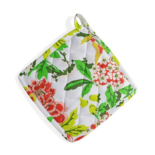 Kitchen Textiles - 100% Cotton White, Green and Multi Colour Floral and Leaves Printed Apron (75x65 Cm), Glove (32x18 Cm), Pot Holder (20x20 Cm), Kitchen Towel (65x40) and Bag (45x35 Cm)
