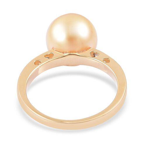 ILIANA 18K Yellow Gold AAA South Sea Golden Pearl (Baroque 10-10.5mm), Diamond (SI/G-H) Ring