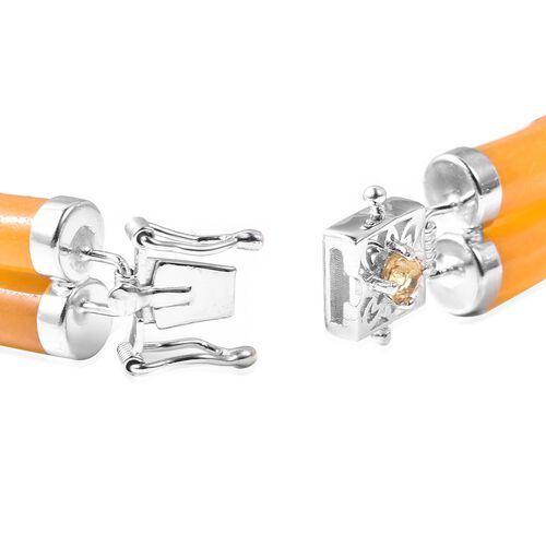 Honey Jade, Citrine Bracelet (Size 7.25) in Rhodium Overlay Sterling Silver 85.150 Ct.