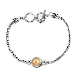 Royal Bali Collection South Sea Golden Pearl Tulangnaga Bracelet (Size 8) in Oxidised Sterling Silve