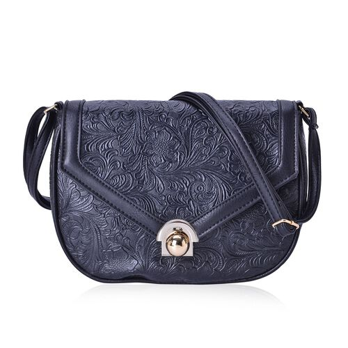Black Colour Floral Embossed Crossbody Classic Saddle Bag with Adjustable Shoulder Strap (Size 25x20x7 Cm)