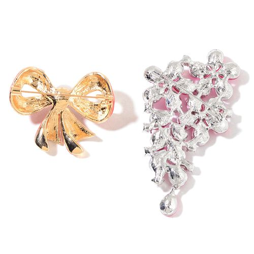 Set of 2 - Simulated White Pearl, Simulated Pink Sapphire, White and Magic Colour Austrian Crystal Floral and Bow Knot Brooch in Yellow Gold and Silver Tone