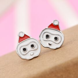 Platinum Overlay Sterling Silver Enamelled Snowman Kids Earrings (with Push Back)