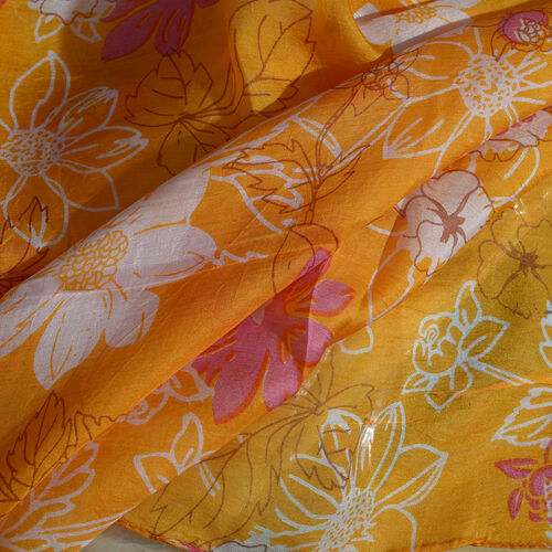 100% Mulberry Silk Orange, White and Pink Colour Handscreen Floral Printed Scarf (Size 170X50 Cm)