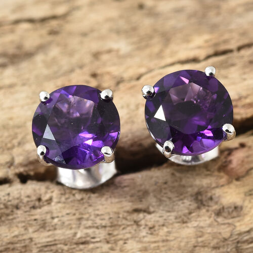 9K White Gold AA Amethyst (Rnd) Stud Earrings (with Push Back) 3.500 Ct.