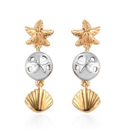 Platinum and Yellow Gold Overlay Sterling Silver Star Fish and Sea Shell Dangle Earrings (with Push