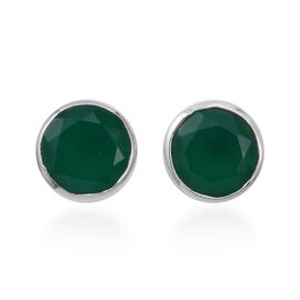 5.7 Ct Verde Onyx and Natural Cambodian Zircon Solitaire Stud Earrings in Sterling Silver