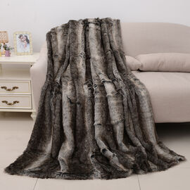 Faux fur Blanket with Reverse Mink Blanket (Size 200x150 Cm)