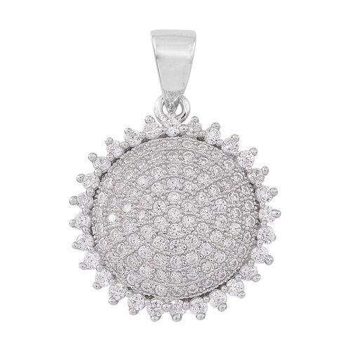 ELANZA AAA Simulated Diamond (Rnd) Pendant and Hook Earrings in Rhodium Plated Sterling Silver, Silver wt 5.80 Gms.