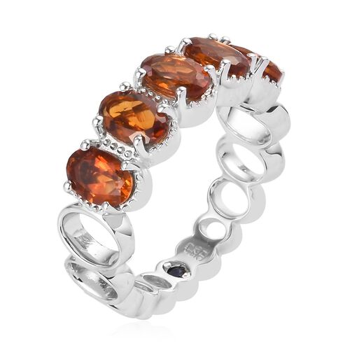 GP - Citrine and Blue Sapphire Band Ring in Platinum Overlay Sterling Silver 2.00 Ct.