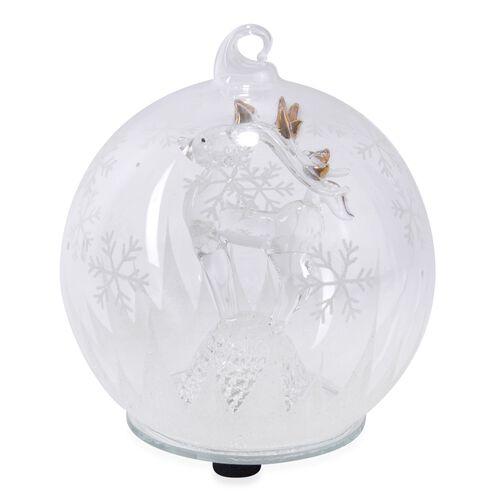 Home Decor - Christmas Reindeer Theme Glass Ball with Colourful LED Lights Inside