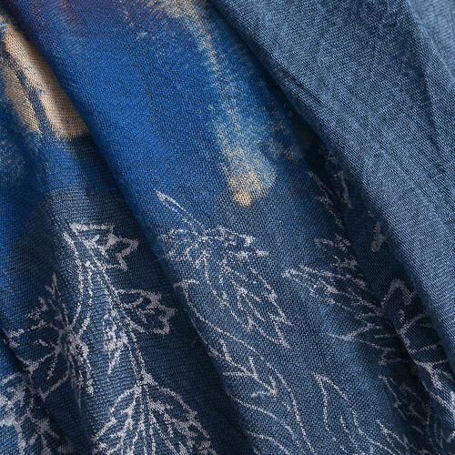 Blue, White and Multi Colour Flower and Leaves Printed Apparel (Free Size)
