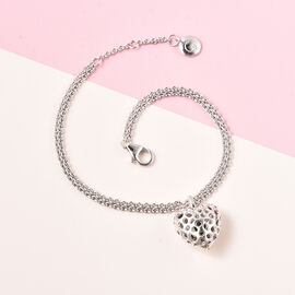 RACHEL GALLEY Angel Heart Collection - Russian Diopside Lattice Heart Charm Bracelet (Size 8 with Extender) in Rhodium Overlay Sterling Silver
