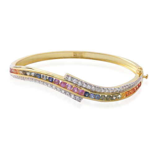 Designer Inspired-Rainbow Sapphire (Rnd), Natural White Cambodian Zircon Bangle (Size 7.5) in 14K Gold Overlay Sterling Silver 6.600 Ct. Silver wt 19.00 Gms.