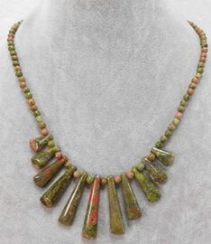Unakite Necklace (Size 18 with 2 inch Extender) in Stainless Steel 138.74 Ct.