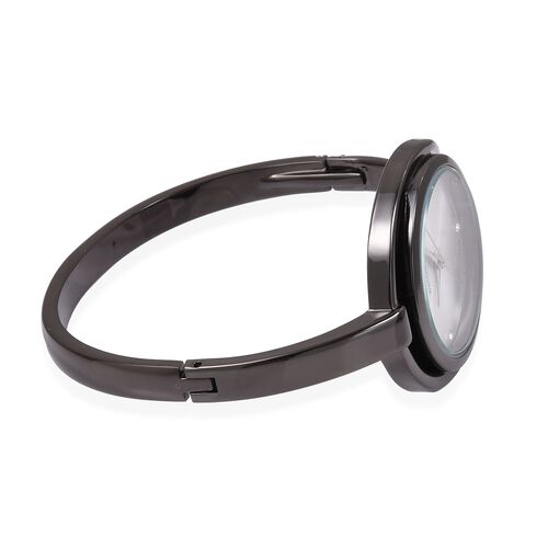 Designer Inspired Black Gun Metal Plated Crystal Bangle Watch