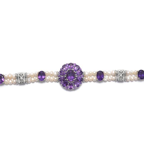 Lusaka Amethyst (Ovl), Fresh Water Pearl Bracelet (Size 7.5) in Platinum Overlay Sterling Silver 36.500 Ct. Silver wt. 14.00 Gms.