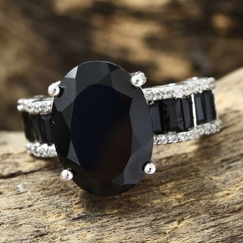 Boi Ploi Black Spinel (Ovl 10.95 Ct), Natural Cambodian Zircon Ring in Platinum Overlay Sterling Silver 13.000 Ct. Silver wt 6.30 Gms.