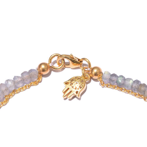 Labradorite Bracelet (Size 7.5) with Hamsa Charm in Yellow Gold Overlay Sterling Silver 9.600 Ct.