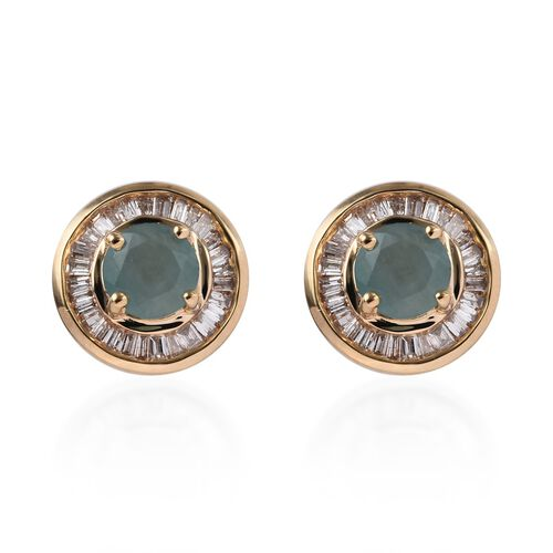 1.65 Ct AA Grandidierite and Diamond Halo Stud Earrings with Push Back in 9K Yellow Gold 2.80 Grams