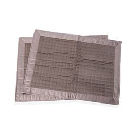 2 Piece Set - Taupe Colour Micro Mink Matte Satin Pillow Cover with Small Check Quilting (Size 70x50 Cm)