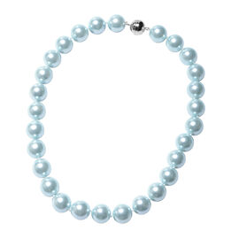 Aquamarine Colour Shell Pearl Beaded Necklace with Magnetic Lock in Rhodium Plated Silver 20 Inch