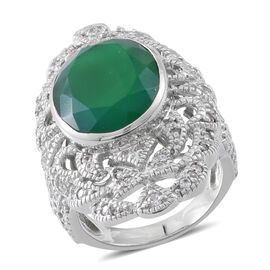 Verde Onyx (Ovl 14.00 Ct), Natural White Cambodian Zircon Ring in Rhodium Plated Sterling Silver 15.