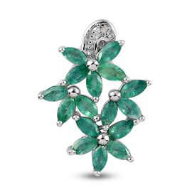 Emerald and Diamond Floral Pendant in Platinum Overlay Sterling Silver 1.010 Ct.