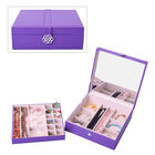 Two-Layer Purple Jewellery Box with Multiple Compartments and Mirror (Size 26x26x9cm)