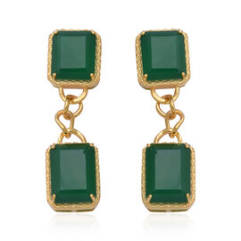 23.92 Ct Green Onyx Dangle Earrings with Push Back in Gold Plated Sterling Silver 6.84 Grams
