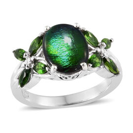 AA Canadian Ammolite (Ovl 10x8 mm), Russian Diopside Ring in Platinum Overlay Sterling Silver.