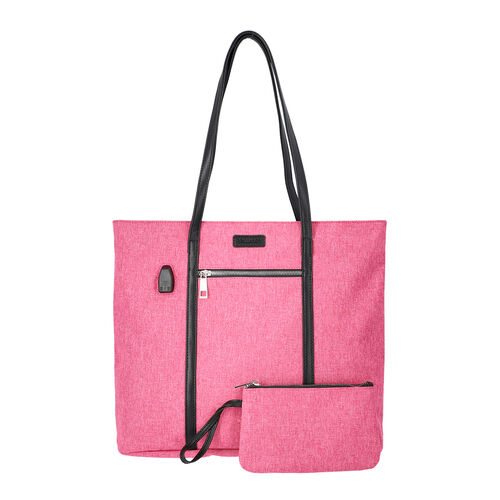 Multi Purpose Zipper Closure Tote Bag (40x13x35cm) with Wristlet (20x12cm) and Power Bank - Pink