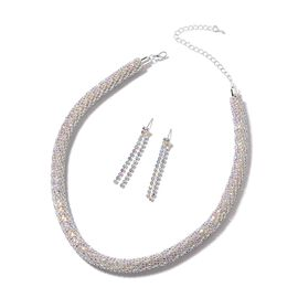 2 Piece Set - Simulated Mystic White Crystal (Rnd) Necklace (Size 18 with 4 inch Extender) and Dangl