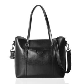 100% Genuine Leather Black Colour Tote Bag with Removable Shoulder Strap (Size 31x27x12 Cm)