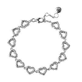 RACHEL GALLEY Rhodium Overlay Sterling Silver Heart Bracelet (Size 8)