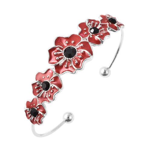 TJC Poppy Design - Black Austrian Crystal Enamelled Poppy Cuff Bangle (Size 6.5) in Silver Tone