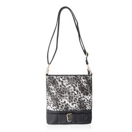 Black and Grey Colour Leopard Pattern Crossbody Bag with Removable and Adjustable Shoulder Strap (Si