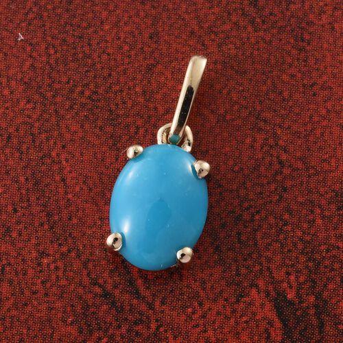 9K Y Gold AAA Arizona Sleeping Beauty Turquoise (Ovl) Solitaire Pendant 1.000 Ct.