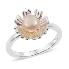 Designer Inspired - Fresh Water Pink Pearl (Rnd 6mm) Daisy Flower Ring in Sterling Silver.