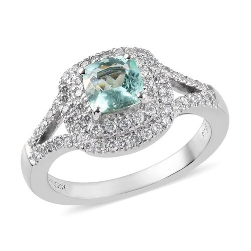 RHAPSODY 1.08 Ct Mozambique Paraiba Tourmaline and Diamond Halo Ring in 950 Platinum VS EH