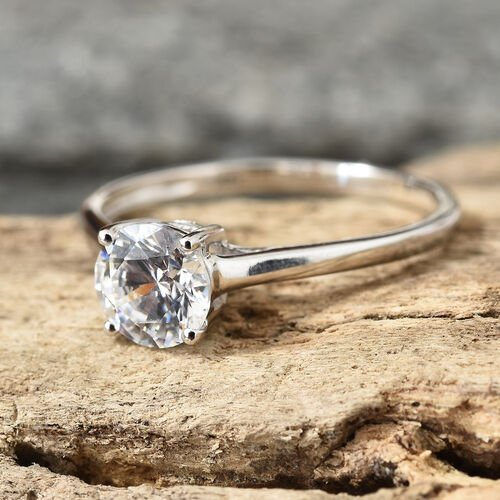 J Francis - 9K White Gold (Rnd) Solitaire Ring Made With Swarovski Zirconia