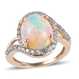 9K Yellow Gold AAA Ethiopian Welo Opal (Ovl 12x10mm), Natural Cambodian Zircon Ring 3.50 Ct.