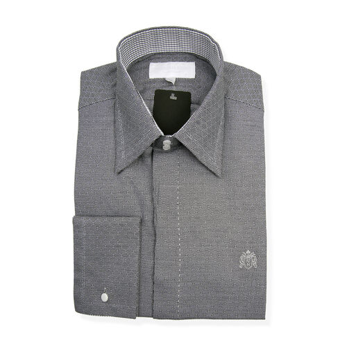 William Hunt - Saville Row Forward Point Collar Black and White Shirt (Size 15)