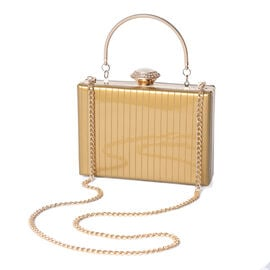 BOUTIQUE COLLECTION Bronze Colour Stripe Pattern Shoulder Bag with Chain Strap and Crystal Studded T